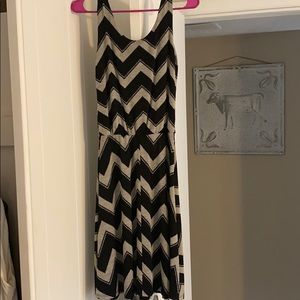 Zig zag striped dress- fitted at waist